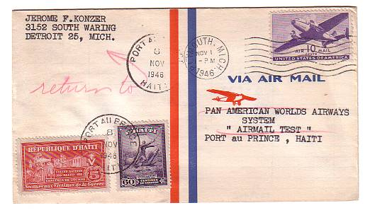 Pan American Airlines Test Airmail Cover Nov 1 1946